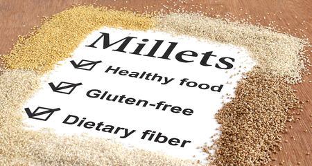 Conceptual indication of the benefits of millets. Stok Fotoğraf - 80766843
