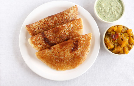 Masala dosas, a traditional and popular South Indian vegetarian food.