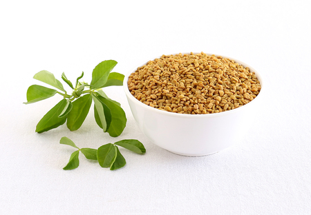 Methi or fenugreek seeds in a bowl and in the background are methi leaves.
