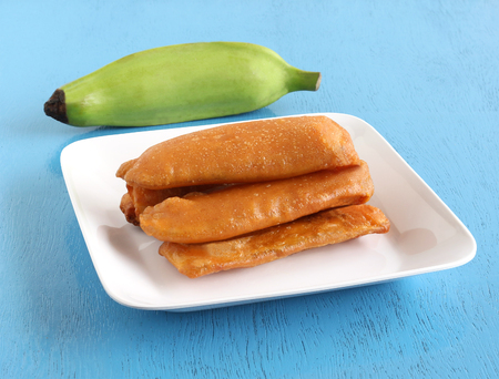 Raw banana bajji or fritter is a popular Indian vegetarian snack or side dish.