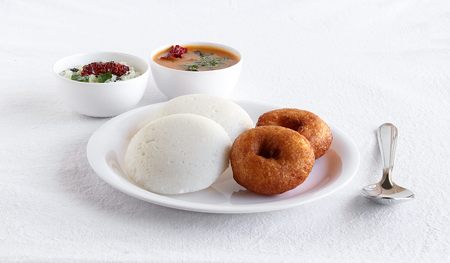 Idli or Idly, Healthy South Indian Vegetarian Breakfast, and Vada, with Sambar and Chutney as Side Dishes