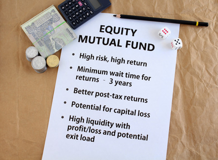 Equity mutual fund investment in Indian rupees concept, highlighted by listing key features of this investment class and using Indian currency.