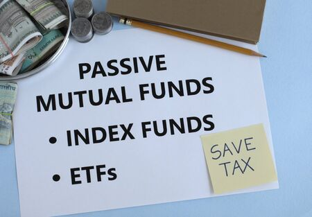 Passive mutual funds, or hybrid funds, which include index and etfs, are an Indian investment avenue, concept.