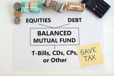 Balanced mutual fund, or hybrid fund, which invests in equity, debt, and money market instruments like t-bills, is an Indian investment avenue, concept.