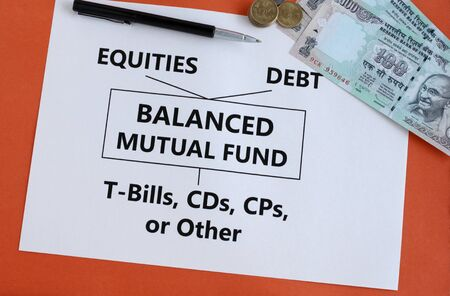 Balanced mutual fund, or hybrid fund, which invests in equity, debt, and money market instruments like t-bills, investment in Indian rupees, concept. 写真素材