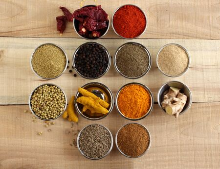 Coriander, pepper, red chili, ginger, turmeric, and cumin, Indian spices and their powders, which are healthy ingredients to flavor food, in steel bowls on a wooden background.