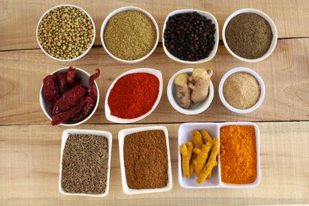 Indian Spices on a wooden
