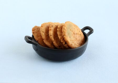 Mathri Indian home cooked vegetarian cookies Stock Photo