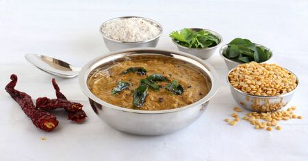 Toor dal chutney, an Indian, delicious vegetarian side dish is made from items like split pigeon pea and dry coconut, is a side dish for items like idli, dosa, chapati, and roti, with some of its main ingredients.