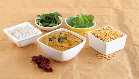 Toor dal chutney, an Indian, delicious, healthy, and vegetarian side dish for items like idli, dosa, chapati, and roti, in a bowl. Stock Photo