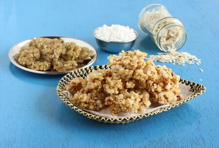 Sandige, a south Indian traditional, popular, vegetarian, crispy, and crunchy side dish, and raw sandige and its main ingredients flattened rice and sago. Stock Photo