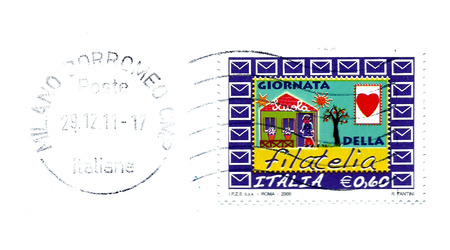 philately: italian post stamp to celebration day of philately Stock Photo