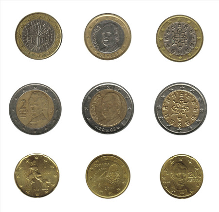 royality: nine euro coins from different nations Stock Photo