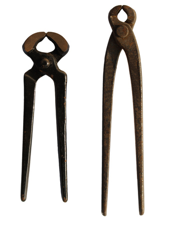 pinchers: old Pinchers pliers tools isolated over white Stock Photo