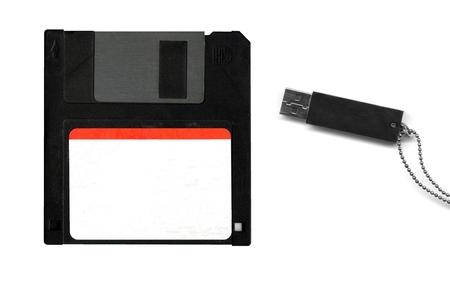 bytes: floppy disk and usb key Stock Photo