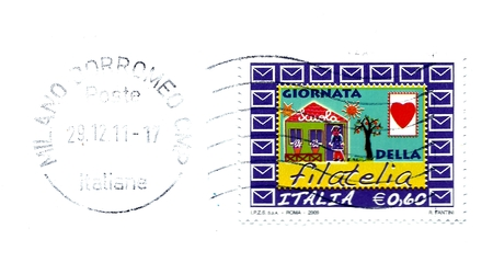 italian post stamp to celebration day of philately photo