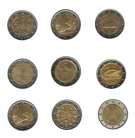 royality: nine two euro coins from different nations