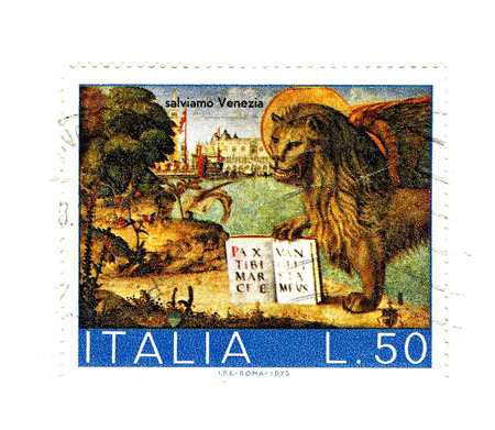 old italian post stamp, lion of san Marco photo