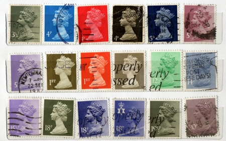 Range of UK postage stamps photo