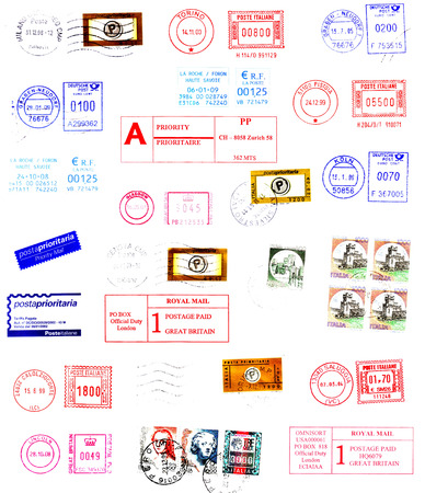 sender: postmarks, labels, post stamps background