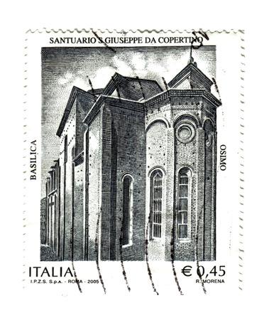 sanctuary:  italian post stamp,  Sanctuary of Osimo Stock Photo