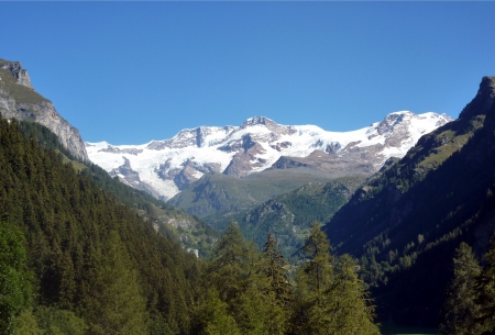 pink hills: Monte Rosa (pink mountain). Italian side  from Gressoney st Jean