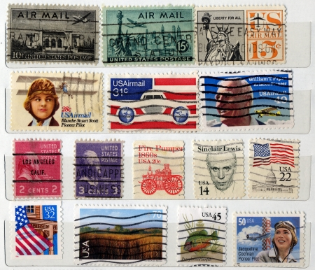 Bunch of USA postage stamps