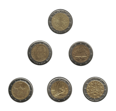 royality: triangle of six euro coins from different nations