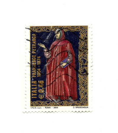 poet: Italian post stamp shows image of the poet Petrarch