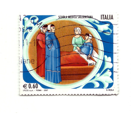medical school: Italian postage stamp celebrating the medical school of Salerno Stock Photo