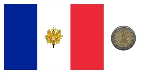 royality: France, flag and coin isolated over white