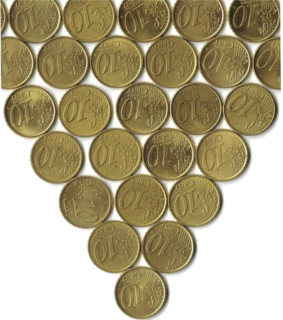 stacks of coins of 10 euro cents arrowhead