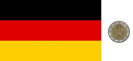 German flag and coin isolated over white