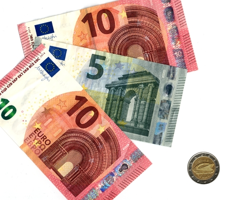irish euro banknotes and coin 版權商用圖片