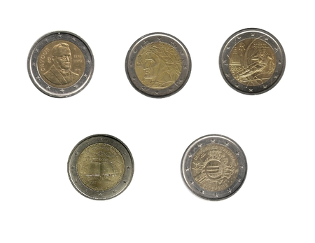 royality: Five Italian two euro coins