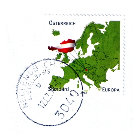 comunity: Austrian postage stamp with map of the European community
