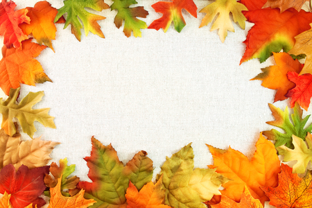 Imitation maple and oak leaves on linen background for Thanksgiving and autumn related themes. Stock Photo