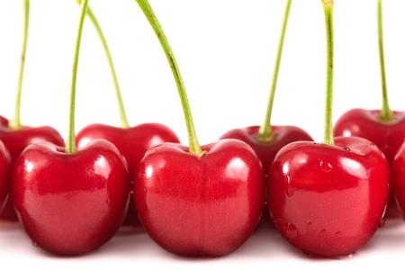 bing: In season & just picked, ripe Bing cherries. Stock Photo