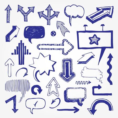 Arrows and speech bubbles set   Ilustra��o