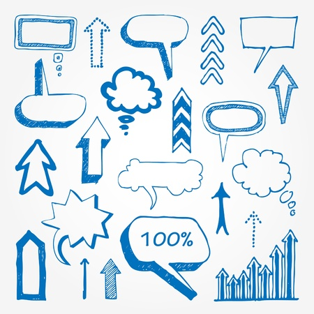 Arrows and speech bubbles set   Illustration
