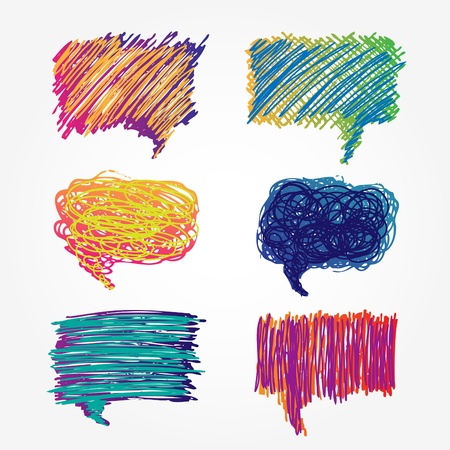 Hand drawn colorful speech bubbles set isolated on white background Ilustra��o