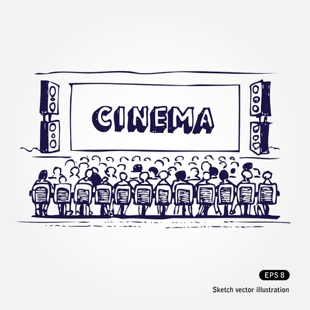 funny movies: Hand drawn illustration of cinema isolated on white background