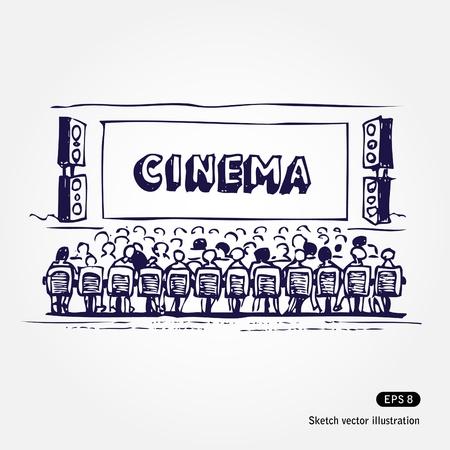 leasure: Illustrazione disegnata a mano del cinema isolato su sfondo bianco Vettoriali