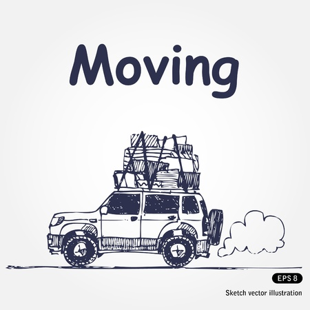 moving truck: Hand drawn illustration with laden car isolated on white background