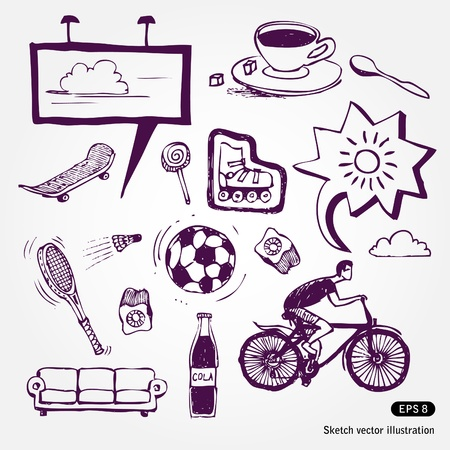Hand drawn Rest and vacation icons set isolated on white background Stock Vector - 13727672