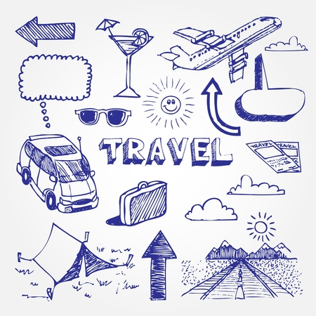 sun road: Hand drawn travel icons set isolated on white background Illustration
