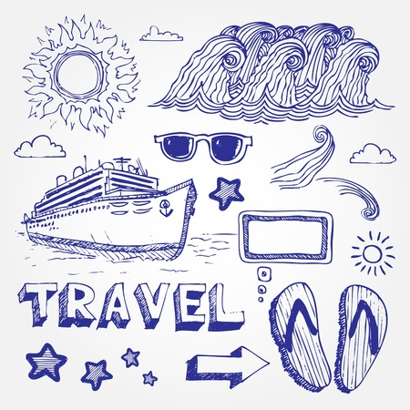 ship sky: Hand drawn travel icons set isolated on white background Illustration