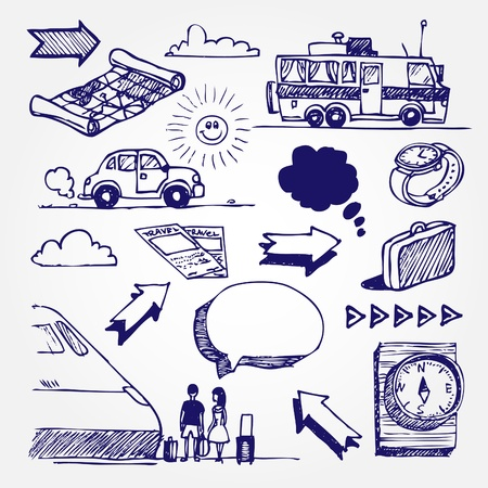 people traveling: Hand drawn travel icons set isolated on white background   Illustration