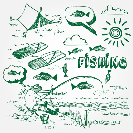 angler: Hand drawn fishing illustration isolated on white background