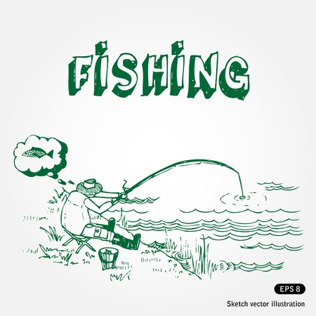 Hand drawn fishing illustration isolated on white background Vector